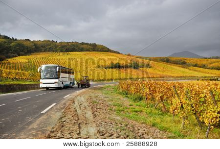 Autopista ruta escénica de la vid en Francia