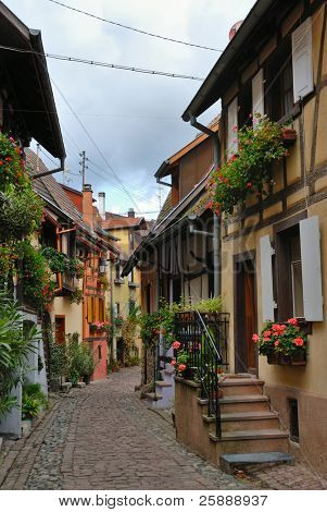 Colorful narrow street with beautiful half-timbered houses