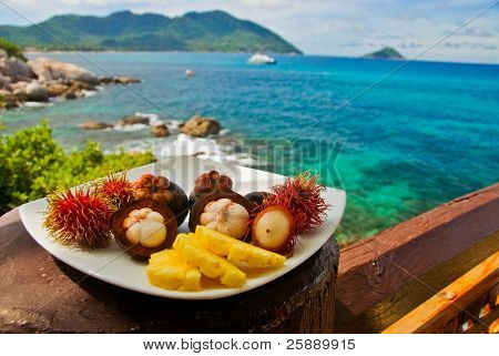 Plateful of Exotic Fruits at Seaview Restaurant