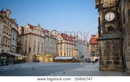 Staromestska's Square (Old Town Square) with street cafes, Prague, Czech Republic