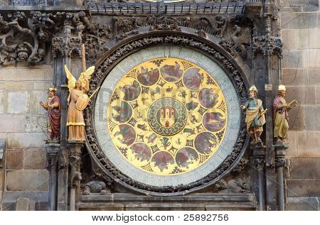 Old Astronomical Clock , detail, located in Old Town Square Clock Tower, Prague, Czech republic