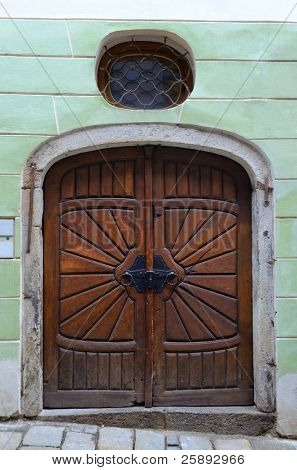 Old wooden door in Prague , Czech Republic