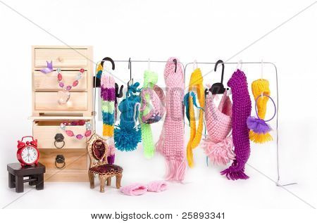 Wooden cabinet with clothes and accessorys for tiny dog