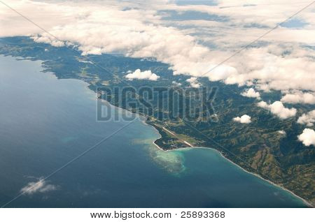 Paradise Bounty Island Aerial View, Pacific Ocean