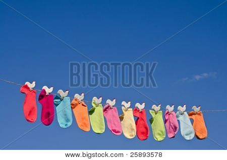String of colorful socks against sunny blue sky in the garden