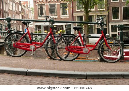 Red bikes parked on a street in Amsterdam, Netherlands