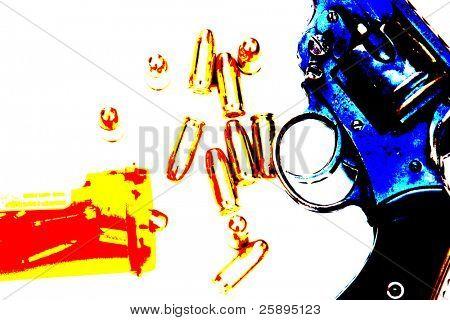 Pop-Art von cal.45 Kugeln aus Pille Flasche eine Handfeuerwaffe.45 cal