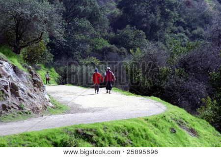 ein paar Spaziergänge entlang einen gewundenen Pfad einher wie sie die Natur und Gesellschaft genießen.