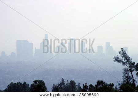 a typical shot of down town Los Angeles (from griffith park) showing the city skyline obscured by smog. Welcome to L.A.