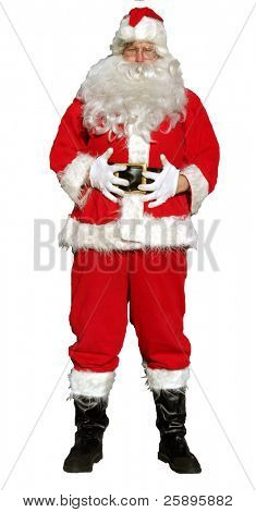 """isolated santa stands with his hands on his tummy as if to say """"ho ho ho those were some fine cookies mrs clause, im full"""""""