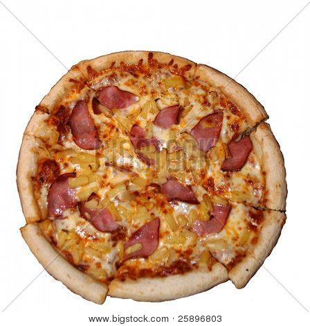 A whole Canadian Beacon and Pineapple Pizza Isolated on white