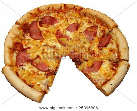 A Canadian Beacon and Pineapple Pizza with one slice removed Isolated on white