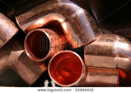 copper pipe ends and elbows