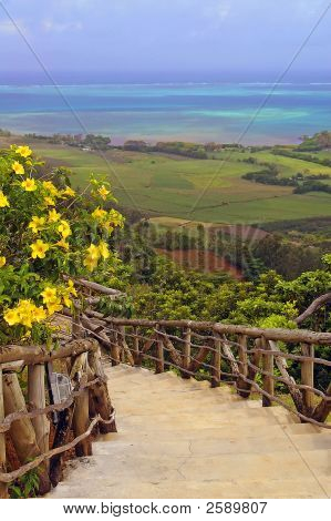 Stair With Flowers Against Sky And Ocean Background