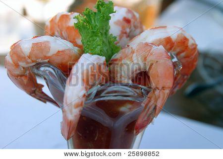Shrimp cocktail in a goblet