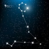 picture of pisces  - Pisces vector Zodiac sign bright stars in cosmos - JPG