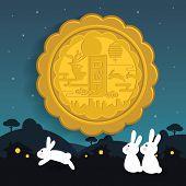 Mid Autumn Festival Or Zhong Qiu Jie Illustration Of Cute Bunny Enjoying The Moon Cake Moon. Caption poster