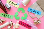 Matherials Suitable For Recycle Near Green Recycle Eco Symbol. Words Paper, Glass, Plastic, Cans On  poster