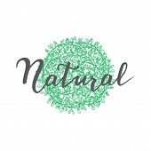 Handwritten Lettering And Floral Circle. Organic Poster. Modern Calligraphy Natural. Vector Illustra poster