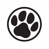 Paw Logo Of Cat Or Dog Animal Pet. Vector Paw Footprint In Circle Icon poster