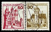 GERMANY-CIRCA 1977:A stamp printed in Germany shows image of Burg Ludwigstein is a  castle overlooki