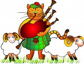 picture of bagpiper  - comic picture of a cat - JPG