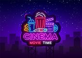 Movie Time Neon Logo Vector. Cinema Night Neon Sign, Design Template, Modern Trend Design, Night Neo poster