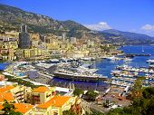 image of grandstand  - Grand Prix of Monaco grandstand with marina and city in the background - JPG