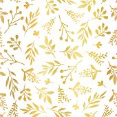 Seamless Vector Background With Abstract Gold Foil Leaves On White. Simple Golden Leaf Texture, Endl poster