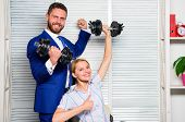 Boss Businessman Manager Raise Hand With Dumbbells. Strong Business Team. Healthy Habits In Office.  poster