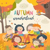 Cute Friends Sitting Around Bonfire In Autumnal Forest poster