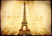 Grunge background with paper texture and landmark of Paris - Eiffel tower poster
