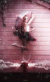 picture of dancing rain  - Creative Abstract Art Of A Fashion Dance With A Water Dancer Ballerina Woman With Umbrella Dancing In The Pouring Rain On A Burst Fire Hydrant Flooding Water - JPG