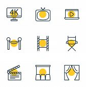 Illustration Of 9 Movie Icons Line Style. Editable Set Of Director Chair, Movie On Laptop, Televisio poster
