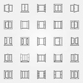 Window Outline Icons Set. Vector Open Windows Concept Symbols Or Design Elements In Thin Line Style poster