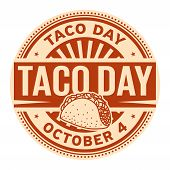Taco Day, October 4, Rubber Stamp, Vector Illustration poster