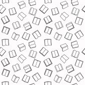 Open Book Seamless Outline Pattern With White Background. Vector Books Linear Texture poster