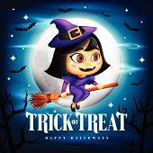 Halloween Trick Or Treat Background And Cute Flying Witch Character On Her Broom In The Midnight Wit poster