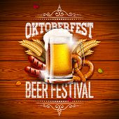 Oktoberfest Banner Illustration With Typography Lettering And Fresh Beer On Vintage Wood Background. poster