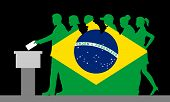 Brazilian Voters Crowd Silhouette Like Brazil Flag By Voting For Election. All The Silhouette Object poster