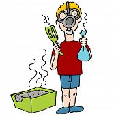 stock photo of pooper  - An image of a man wearing a gas mask while cleaning a litter box - JPG