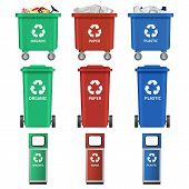Separation Recycle Bin Waste Trash Icons Set. Realistic Illustration Of 9 Separation Recycle Bin Was poster