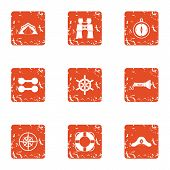 Yacht Trip Icons Set. Grunge Set Of 9 Yacht Trip Icons For Web Isolated On White Background poster