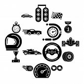Car Race Icons Set. Simple Illustration Of 16 Car Race Icons For Web poster