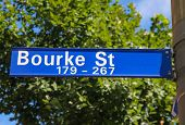 A Street Sign With Bourke Street. One Of The Main Streets In Melbourne Cbd And Home To Many Major Bu poster