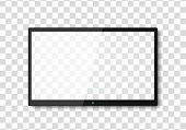 Modern Tv Screen.display Wide Tv, Digital Realistic Black Screen Illustration. 4k Tv Screen Vector.  poster