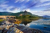 Tourists Favourite Place In Scotland - Isle Of Skye. Very Famous Castle In Scotland Called Eilean Do poster