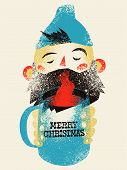 Typographic Grunge Vintage Christmas Card Design. Cartoon Bearded Man Holds A Mug With A Hot Drink I poster
