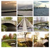 Collage Of Beautiful Bridges In Russia, Finland, Sweden And Denmark. 14 August 2018 Kouvola, Finland poster