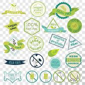 Set Of Labels For Vegans, Gluten Free And Diary Free Badges. Signs For Natural Organic Food, That Co poster